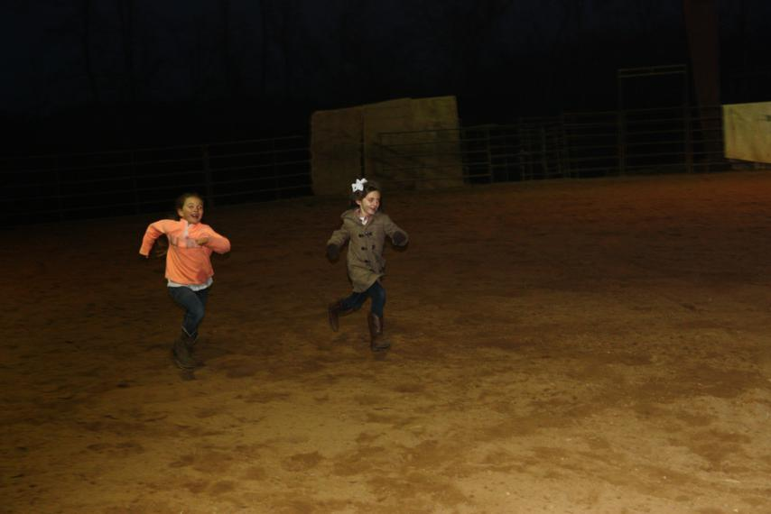 Roany and Bren racing through the arena!