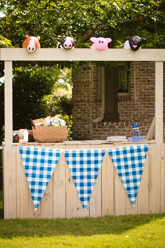 We used the lemonade stand that we built for KW's party again and I added some plastic gingham flags from Oriental Trading.  It was Anna's idea to put the inflatable animals on top.  :)