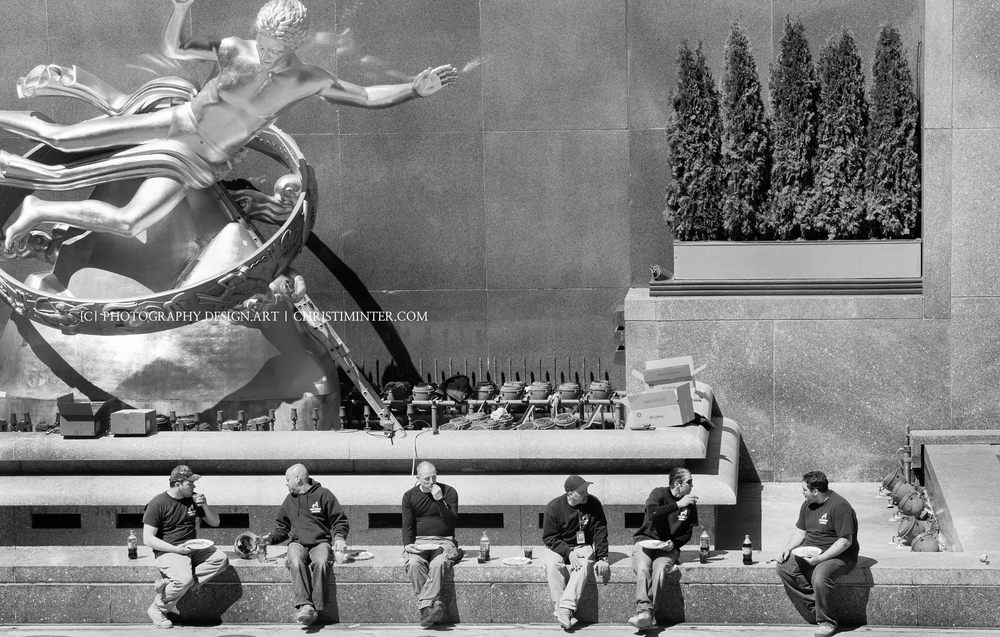 Back story! This shot reminded me of   Charles Ebbet's 1 932 photograph : Men on Beam at Rockefeller. And this image just-so-happened to be taken at Rockefeller Center. Loved that.
