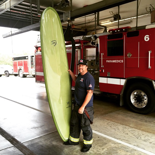 "@tonythev11 receiving a special delivery on the job (OFD6) 9'0"" x 22"" x 2.9"" 2+1 swordfish. Airbrushed ""resin tint""👌🏻🔥 #sjsurfboards"