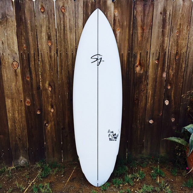 "Every once in a while you have to splurge and shape your self a new board. 5'10"" x 20"" x 2.5"" 5 fin futures #halibut #sjsurfboards"