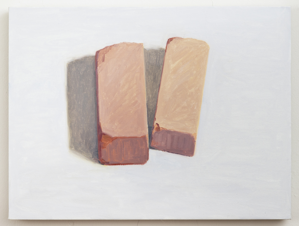 Two Bricks, 2013, oil on linen. 18 x 24 inches