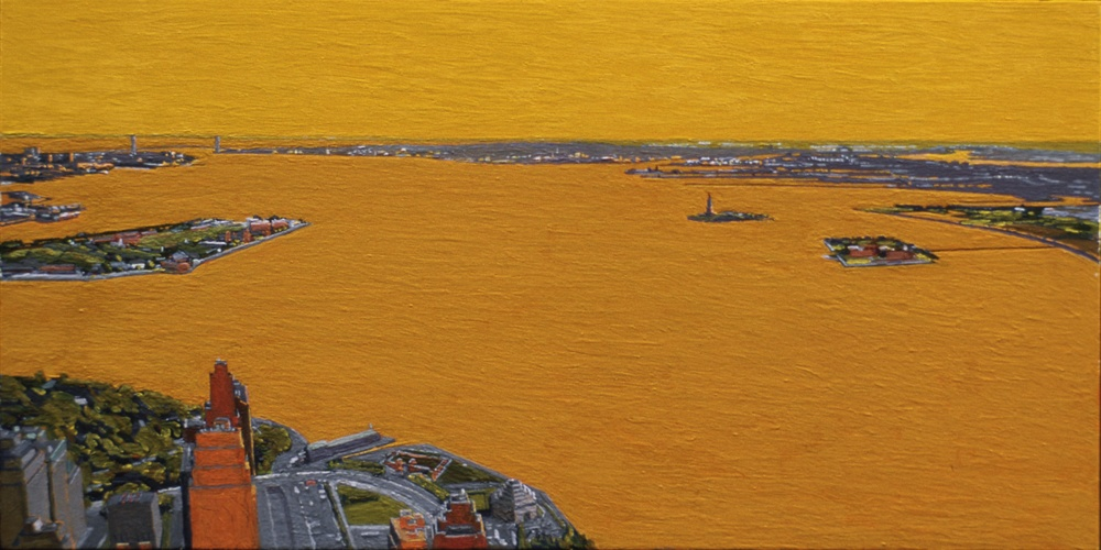 New York Harbor, 1998, oil on panel, 8 x 16 inches