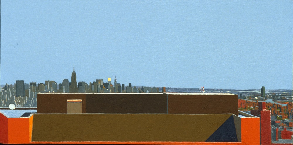 Queens / Manhattan Morning, 1997, oil on panel, 9 1/2 x 19  inches