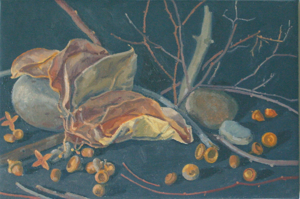 Acorns, Leaves, Sticks and Stones    2014, oil on linen, 6 x 9 inches