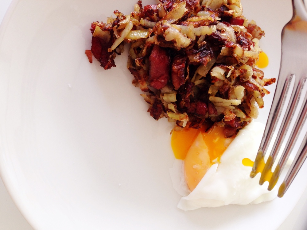 Poached Egg and Corned Beef Hash