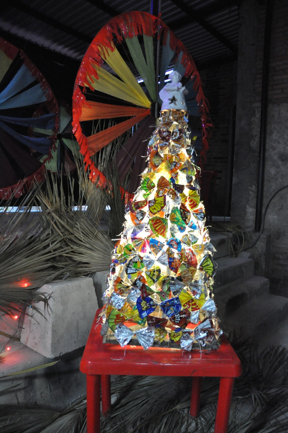This tree was made from recycled snack bags