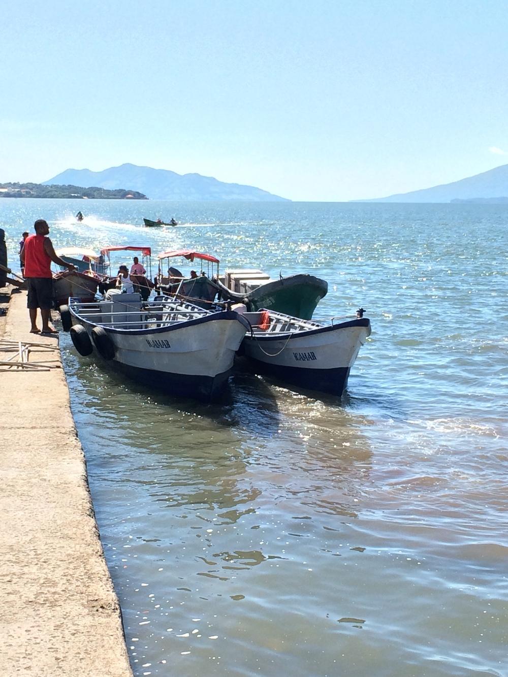 Empty passenger Boats