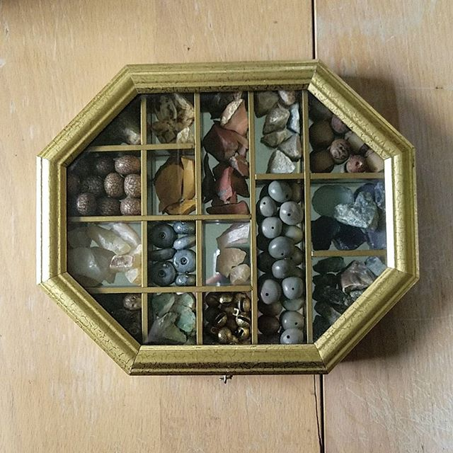 A gem curiosity box filled with wonderful stones, natural beads, and bells. This box was a gem of a find ;) - #theobjectstudio #gems #gemstones #naturalbeads #raw #stones #crystals #chinesebeads #clay #ceramic #beads #chinese #bells #seeds #gold #handmade #jewelry #supplies #inspiring #inspiration