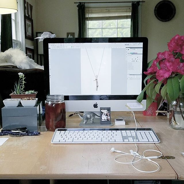 My view this afternoon: editing product photos. Can't complain though! Three pieces down, many more to go 😊 - www.theobjectstudio.com - #theobjectstudio #photography #productphotography #editing #photoshop #workfromhome #jewelry #naturaljewelry #branch #mac #adayinthelife #workforyourself #smallbusiness #handmadebusiness #etsy #etsyseller #websitelaunch #june1