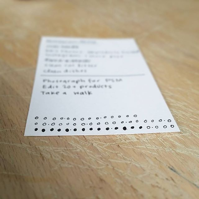 Goal for the day: Fill in all these dots. One dot equals one set of 3-4 product images to edit. - www.theobjectstudio.com - #theobjectstudio #goals #fillinthedots #motivation #listmaker  #list #todolist #jewelry #productphotography #phito #editing #websitelaunch #june1 #handmade #smallbusiness #etsyseller #bulletjournal