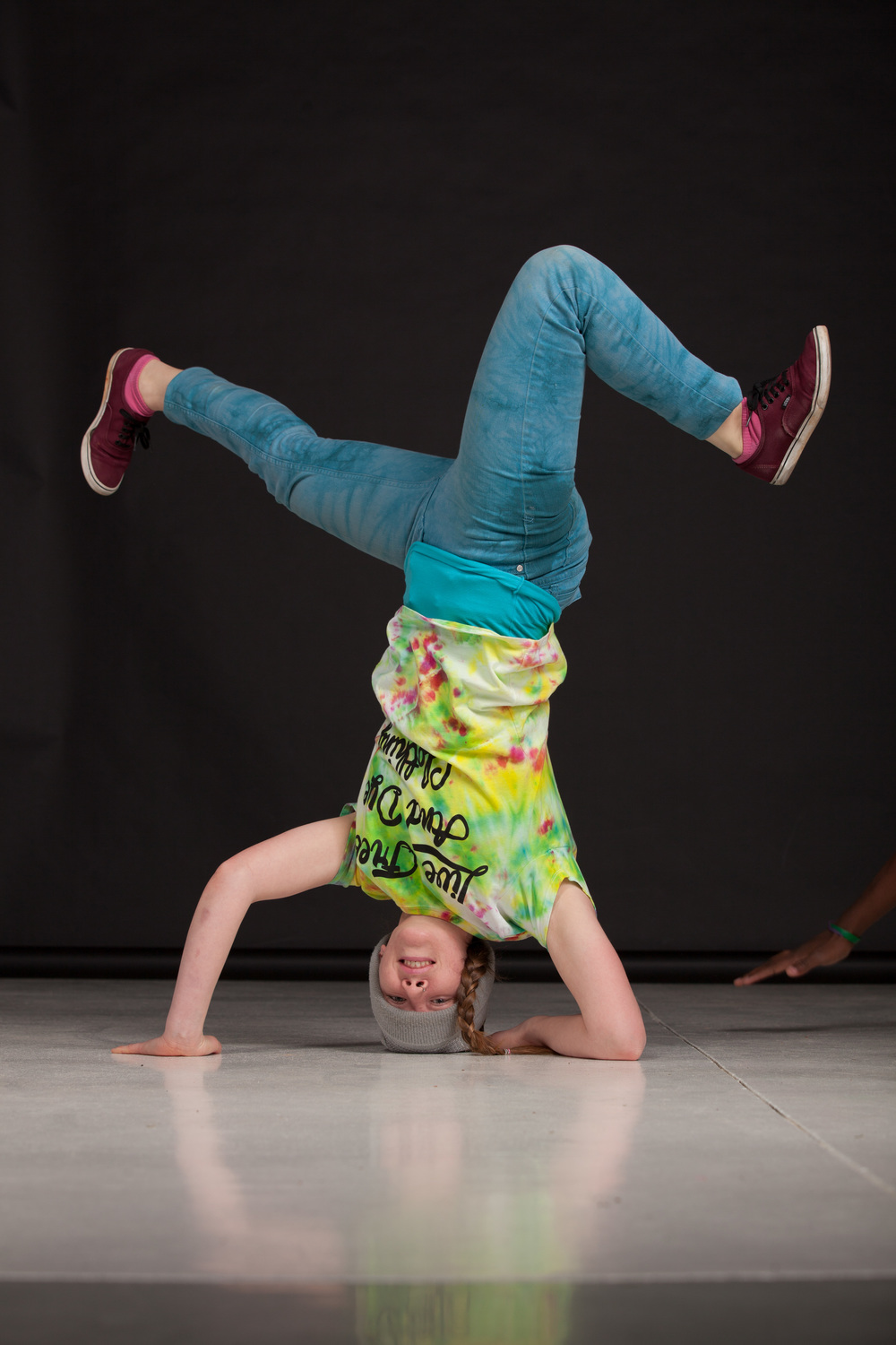 Charlotte model bboy dancing in t shirt