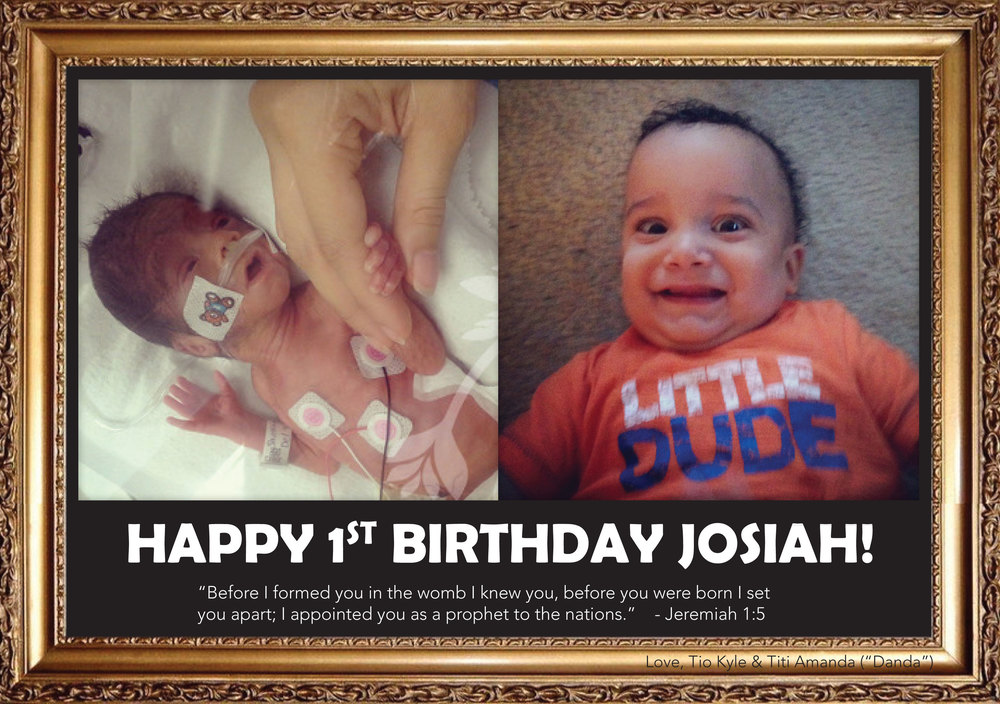 Josiah, born 2.2lbs, this miracle baby turns 1 year old!