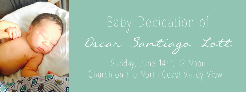 Oscar's Baby Dedication Invite
