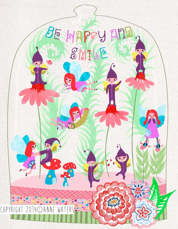 I have a new piece of art to share with you...Be Happy and Smile... I created this 'Little Terrarium' and entered it into the 2014 Global Talent Search, a competition run by Lilla Rogers, a top art agent in the US. I wanted my terrarium to have a scene featuring fairies and elves enjoying themselves amongst the plants..I must confess, I loved creating these little characters who seemed to take on their own little persona's and who had me smiling right back at them. They are my new little friends! I hope they make you smile too. The winner is awarded with two years representation with Lilla Rogers! Good luck to all who entered.