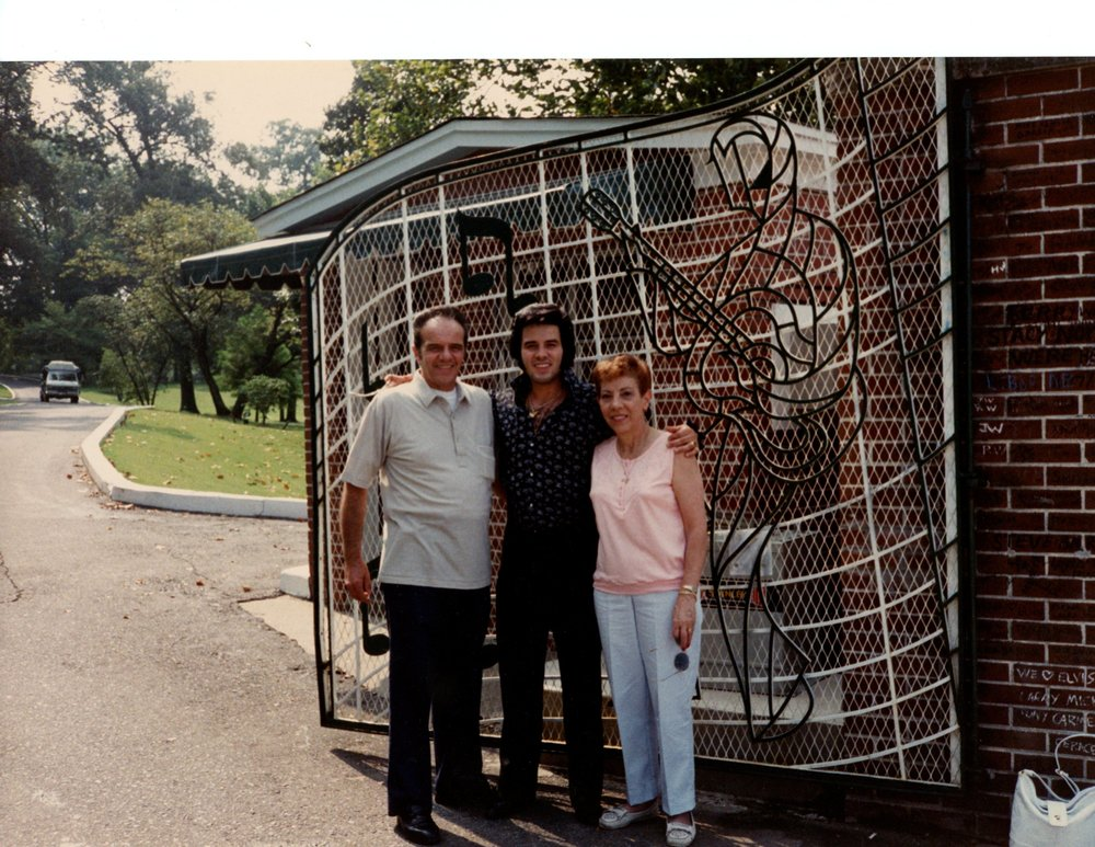 Tony with his Mom and Dad at the front gates of Graceland home of Elvis Presley in Memphis, Tennessee sometime in the late 80's