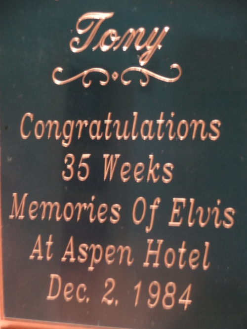 Tony received this award December 2, 1984 from the Aspen Manor Hotel in Parsippany N.J. for 35 consecutive record breaking weeks performing his Memories Of Elvis Show. After a month off Tony would return again to the Aspen Manor Hotel for 22 more consecutive weeks! Tony's show was the longest running act of all the shows that performed at the Aspen Manor Hotel.