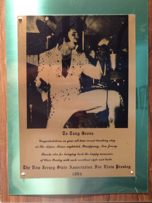 Tony received this award in 1984 from the New Jersey State Association For Elvis Presley Fan Club for 35 consecutive record breaking weeks performing his Memories Of Elvis Show                                     at the Aspen Manor Hotel in Parsippany N.J.