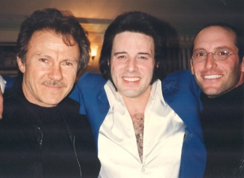 Harve  y Keitel, Ton y & Hollywood Movie Producer David Winkler backstage after Tony's show that was attended by Harvey, David, and staff in 1996.