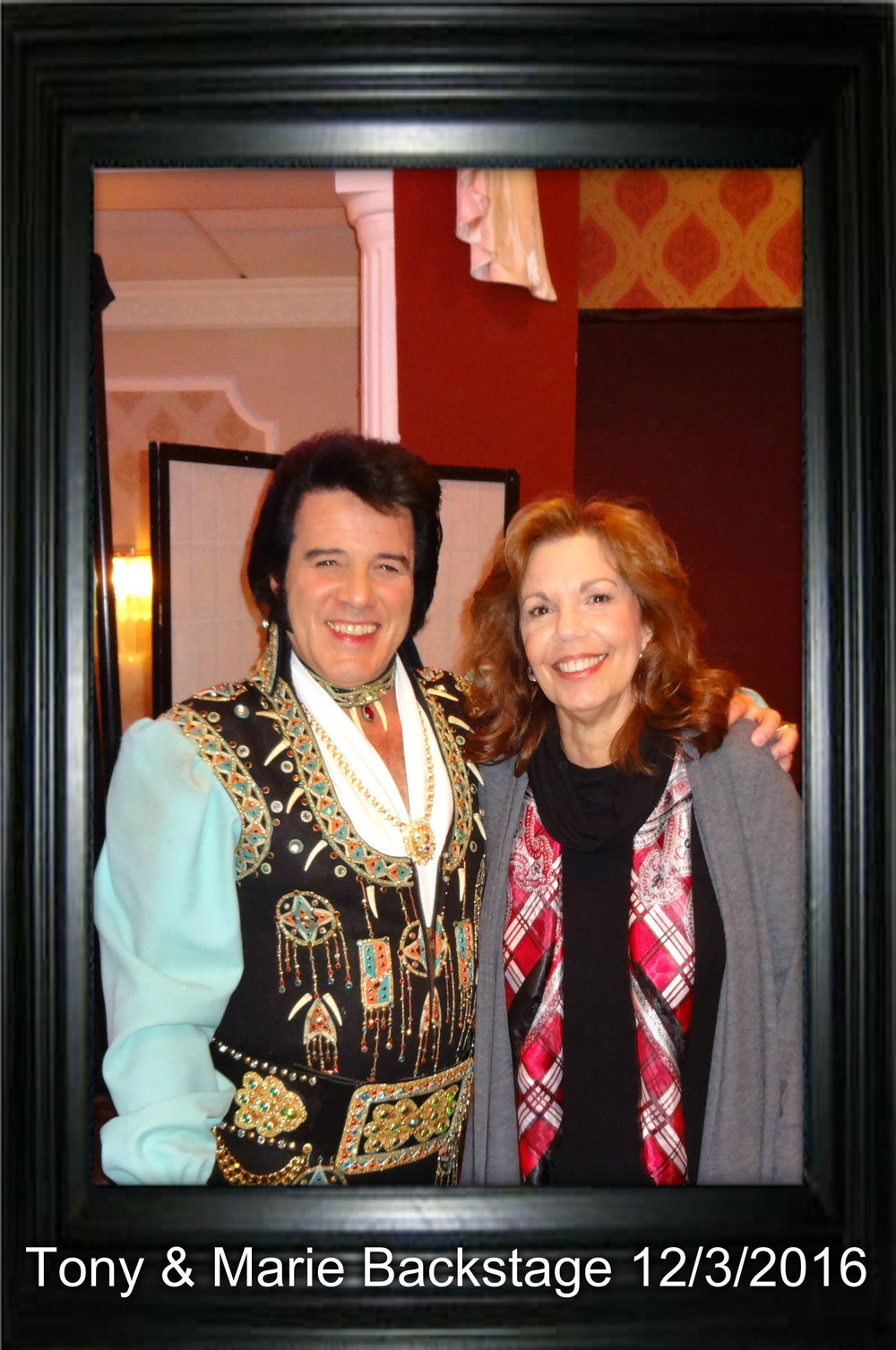 Tony & Marie Backstage before start of  December 3, 2016 Christmas Show. Marie and Tony have been together 20 years!