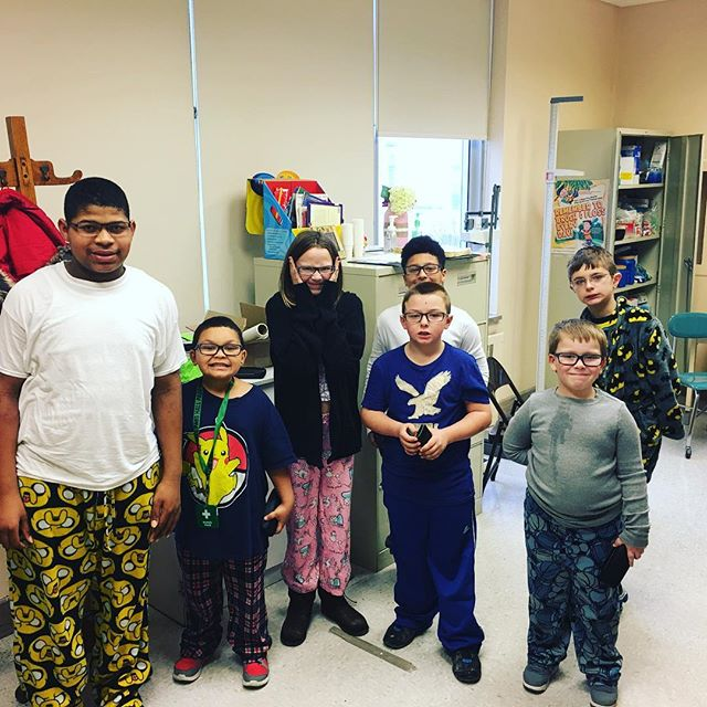 Pajama day and new glasses for the kids at Pittsburgh Mifflin this morning!