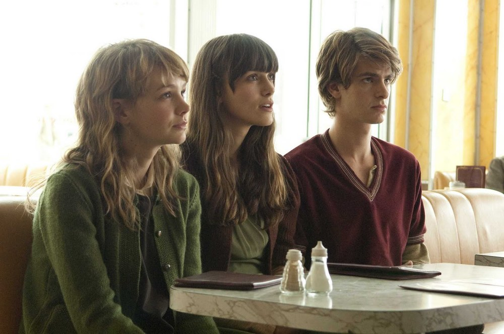 A still from  Never Let Me Go   (2010) starring Carey Mulligan, Keira Knightly, and Andrew Garfield.