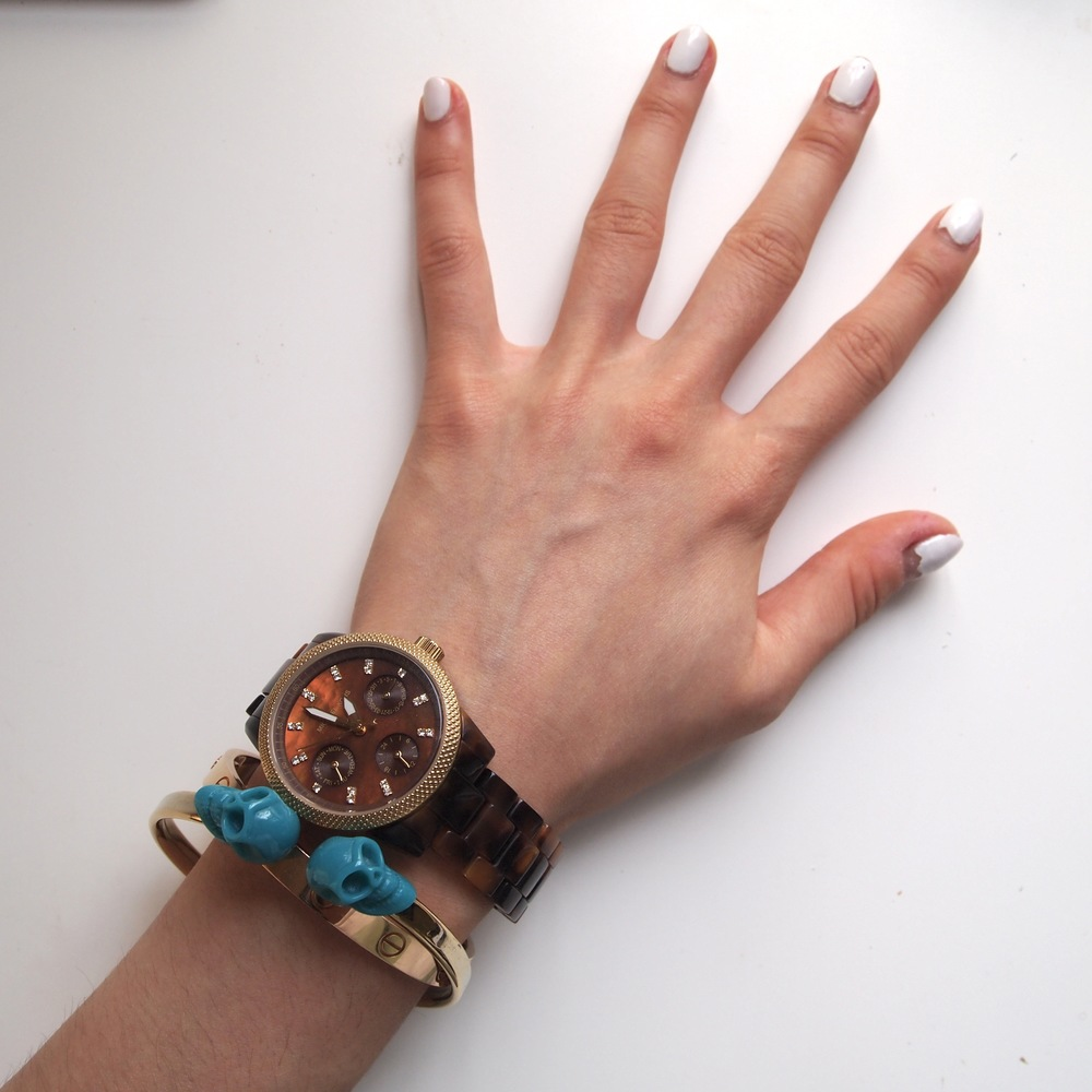 My Current Arm Candy: Michael Kors Watch, Love Bracelet, Chapel Skull Bracelet