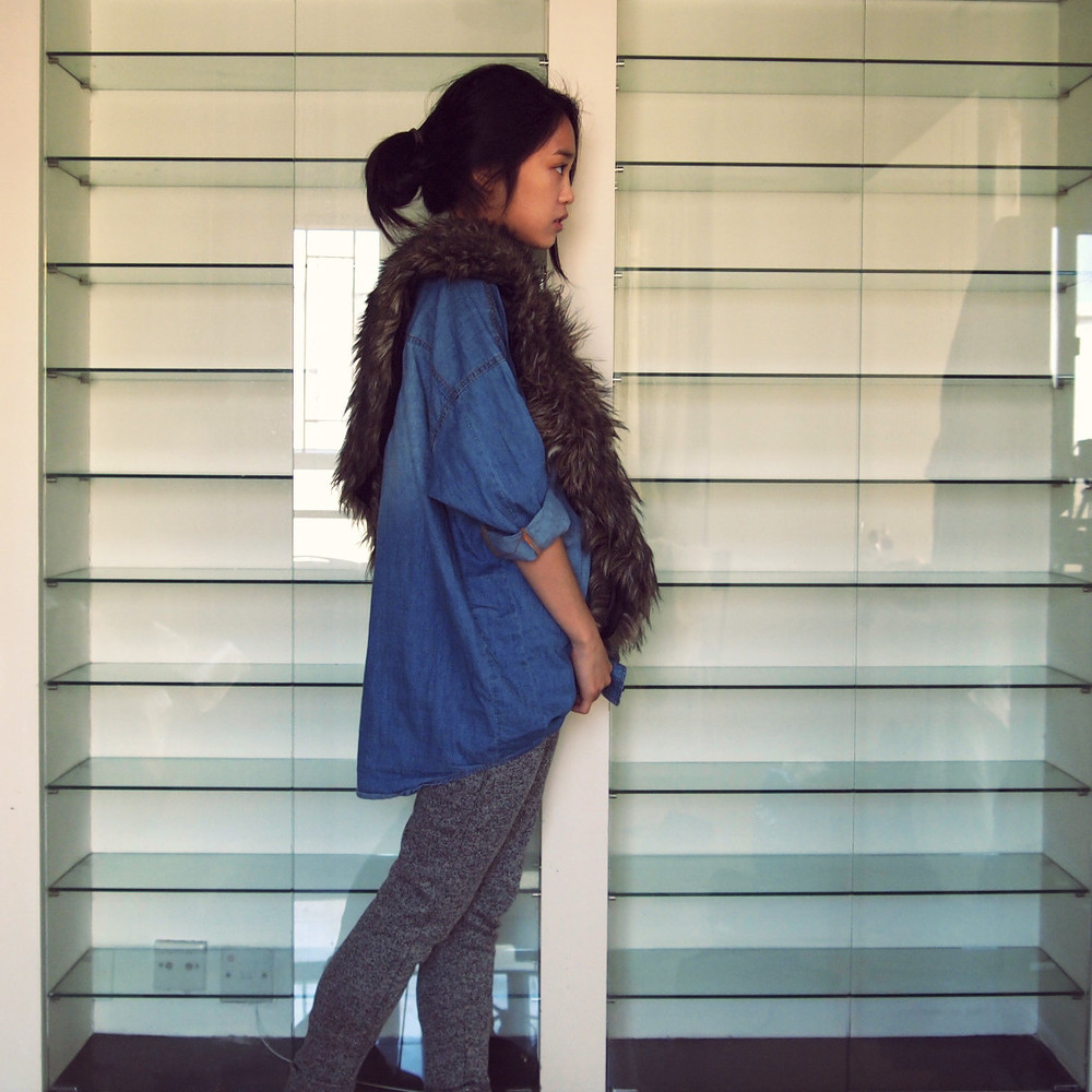 Thrifted top, Faux fur snood from Ebay, Zara sweatpants
