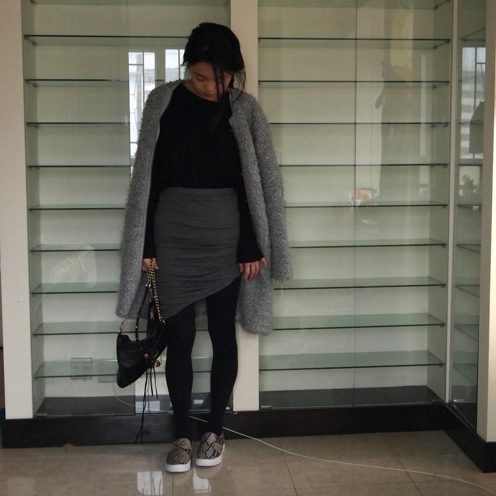 Zara Coat, Forever 21 Skirt, Rebecca Minkoff Mac, H&M Slip-on Trainers