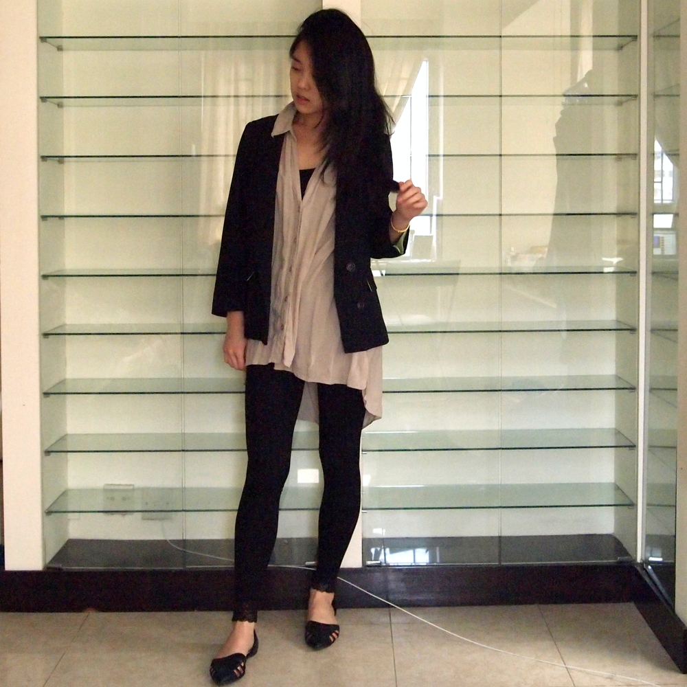 New Look Blazer, H&M Blouse & Leggings, Forever 21 Flats
