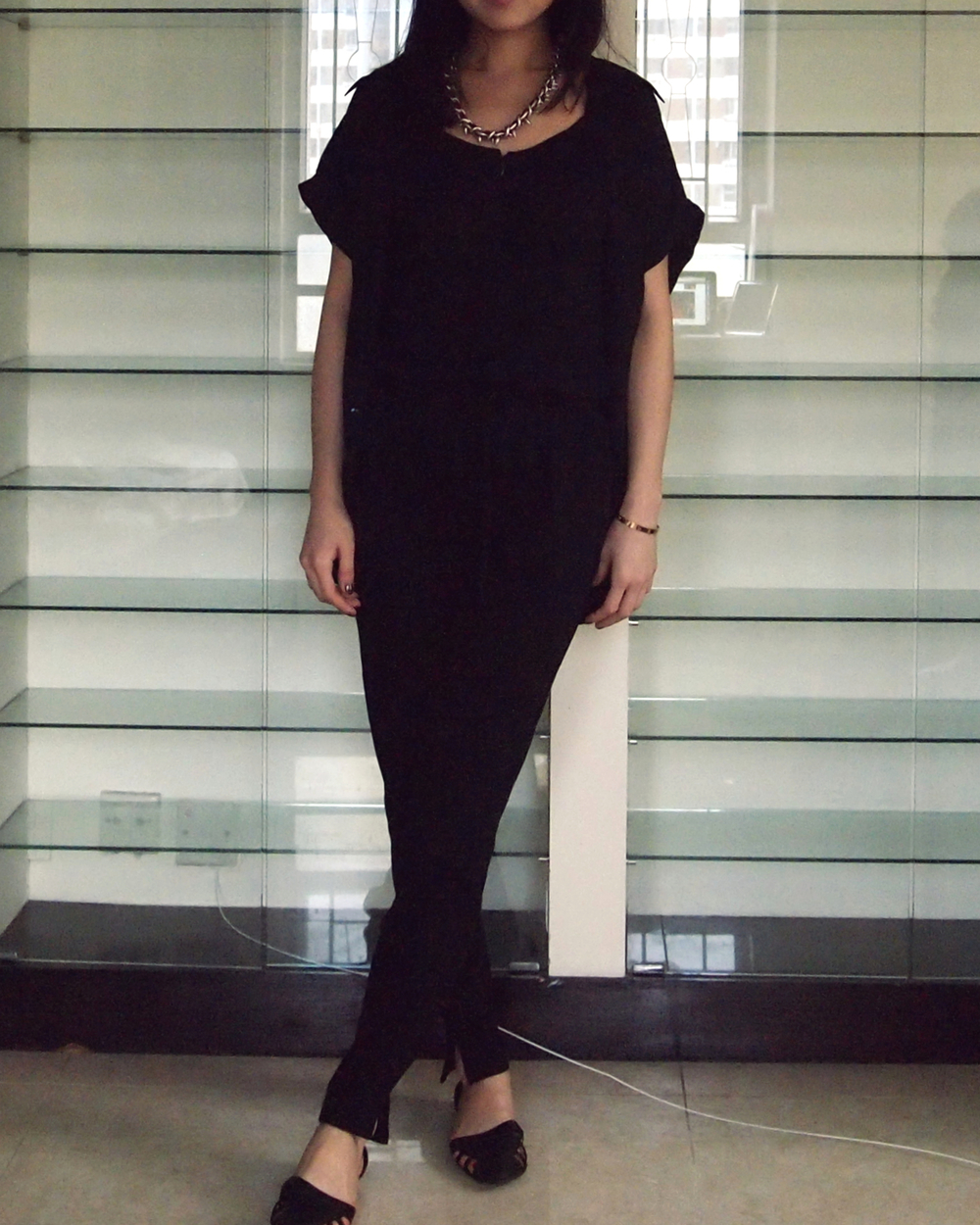 Zara Necklace and Jumpsuit, Forever 21 Collared Blouse and Flats