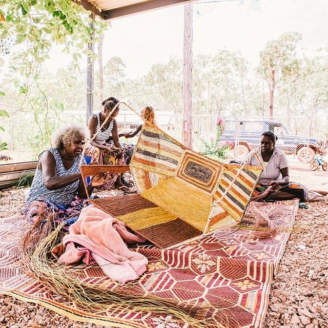 Judy Manany and daughter Sharon Djalambarr weaving their Hoodie for Koskela at their home on Elcho Island, NT.