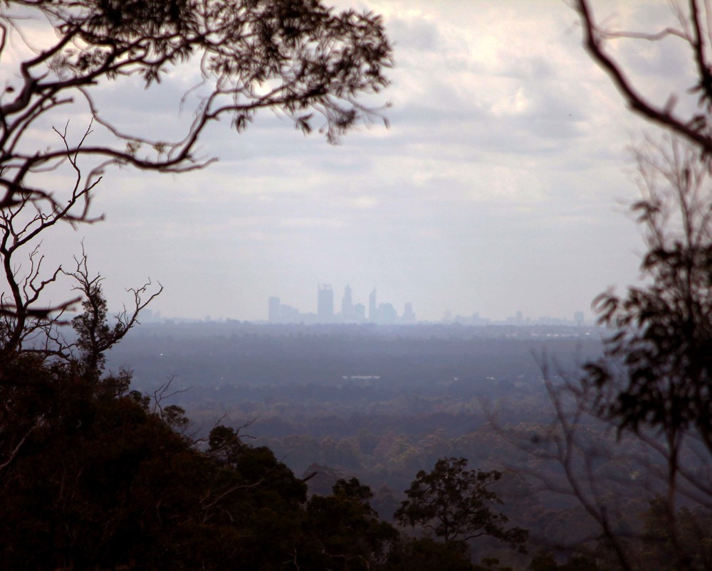 Perth at a distance (about 50km away)