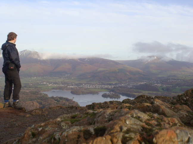 Standing atop Cats Bells, overlooking Derwent Water