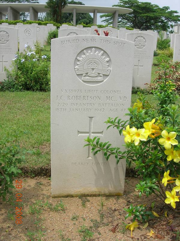 Col Robertson Memorial Headstone - Kranji War Cemetery Singapore