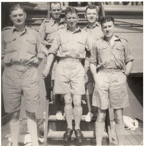 L-R Capt Oliff, Lt Wastell, Maj Lloyd, Capt Brand, Capt Morgan.  Taken on board troopship Marnix – August 1941