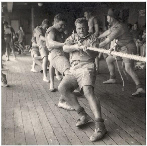 Tug-of-war on troopship Marnix on way to Singapore
