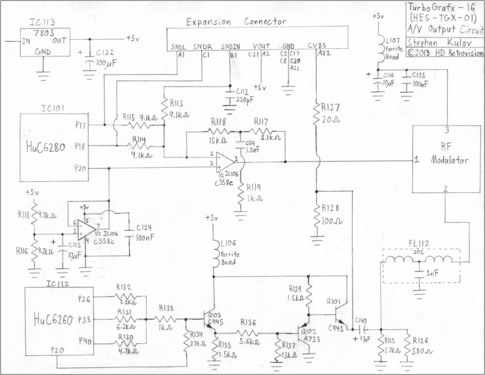 TurboGrafx16 Internal AV Output Circuitry