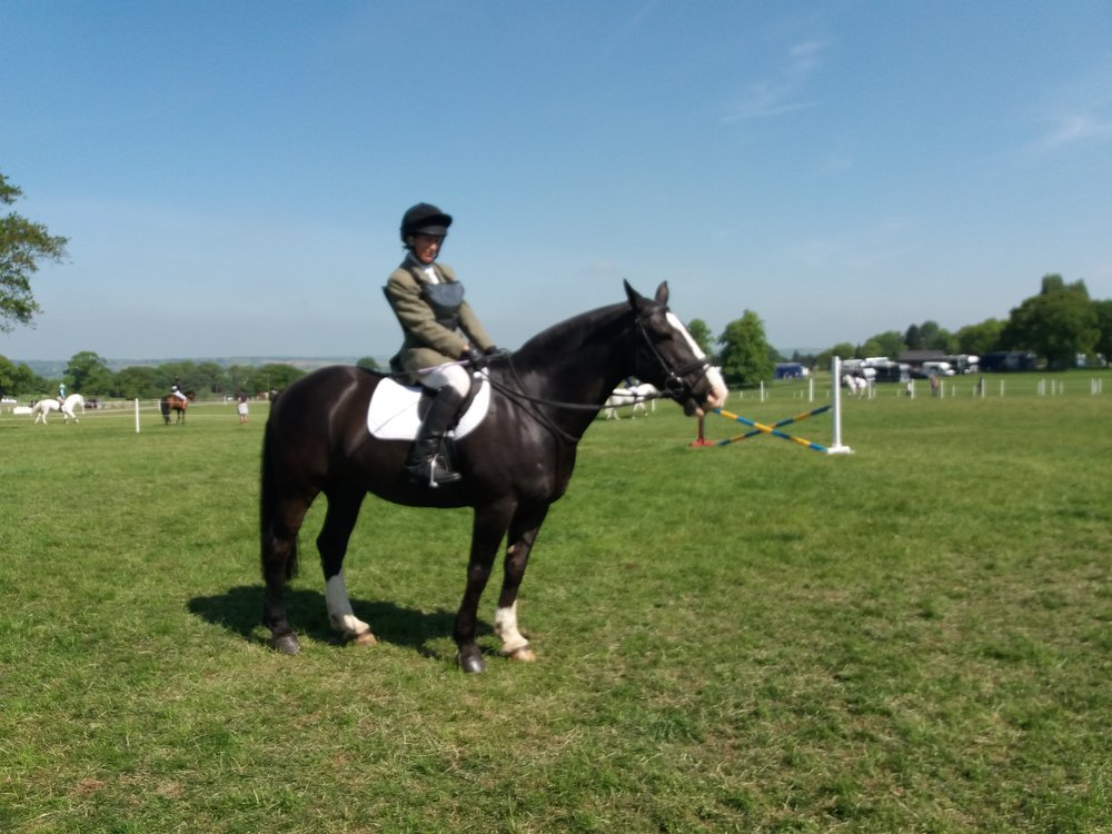 Sarah Pointon and Rolo waiting for their round at BRC Show Jumping at Rockingham Horse Trials May 2018