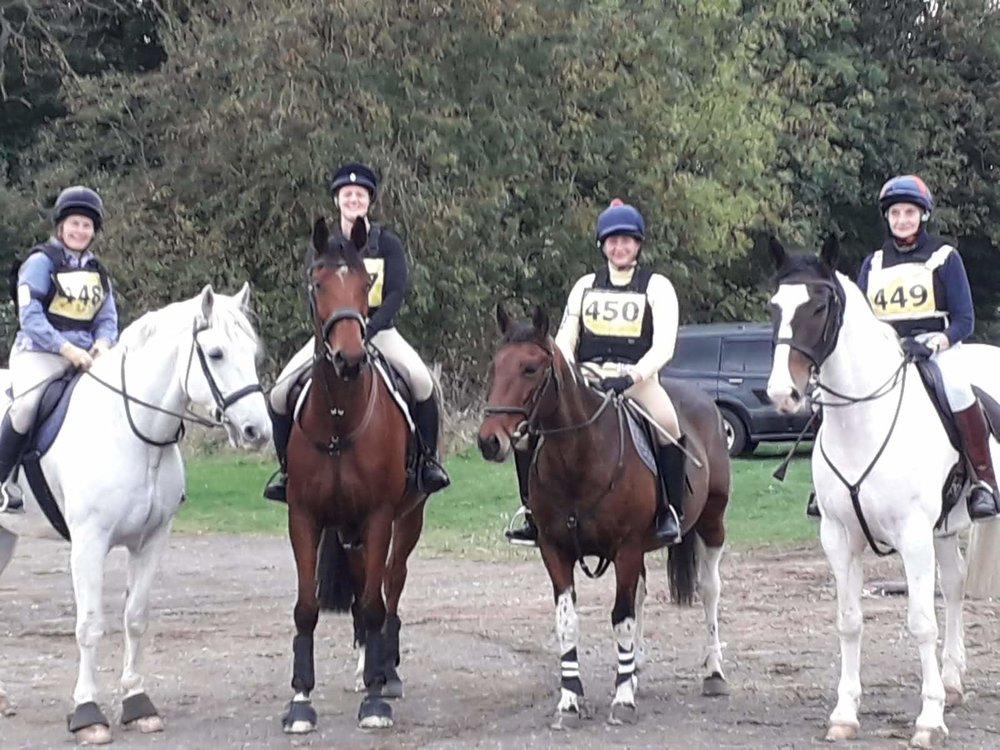 The 80 cm Arena Eventing Team at Speetley last Sunday - placed 6th (left to right) Mandy Sanders, Georgina Sharples, Katie and Sue Holroyd