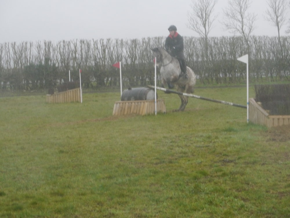 Excellent XC traning with Richard Jones 3 March 2019 - Alice Turner and Indi negotiating a skinny fence in rather wet and windy conditions!