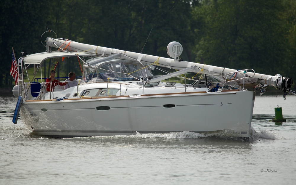 The Lola Annie, a Beneteau 49 Sailboat from Hudson, Ohio, traveling west on the Seneca River just past Lock 24 on the Erie Canal System in Baldwinsville, NY on June 8, 2014.
