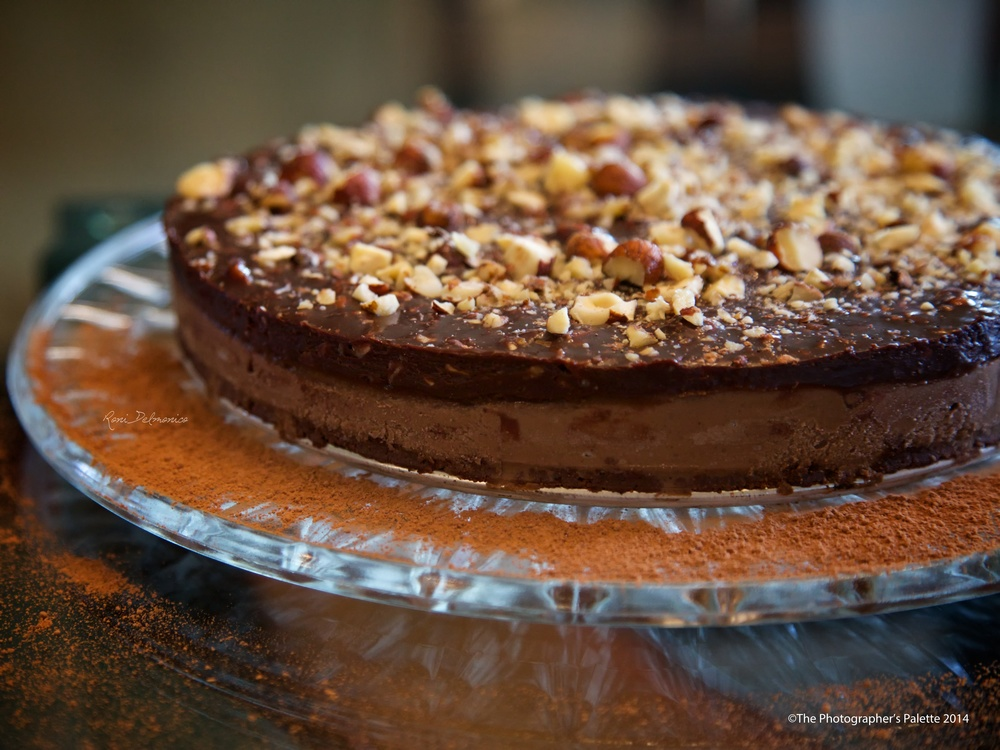 Chocolate Espresso Hazelnut Frozen Torte.  Recipe by Susan Powers at  www.rawmazing.com . Photo ©Roni Delmonico and The Photographer's Palette.