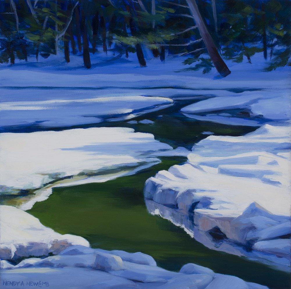 "Winter Green  Oil on panel  10 x 10""  $750"