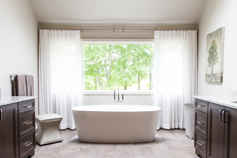 Beautiful sheer drapes and neutral paint colors enhance this Master Bath with a verdant view, Mercer County, NJ