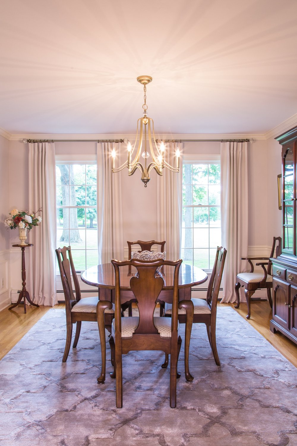 A lovely lilac-gray paint color replaced striped wallpaper to give this Dining Room a light, airy feel, Bucks County, PA