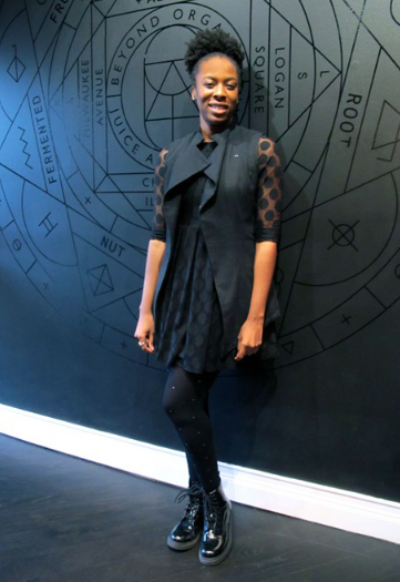 STYLE CURATOR WITH ECO DESIGNER ELISE BERGMAN - MODERN ALCHEMIST VEST, PHOTO COURTESY OF CHICAGO READER https://www.fb101.com/2015/01/new-chef-driven-juice-mecca-chicagos-owen-alchemy/