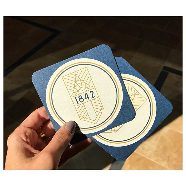 Beautiful brand touchpoints for the new 1842 Club #notredame #branding #identity #detailsmatter #merchandising #smallwares #styledirector #levyrestaurants #football #hospitality #stadiumstyle