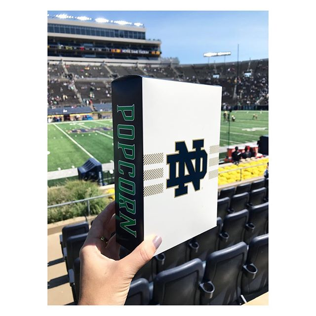 In this box is research, creativity, and design love. My graphic designer creative soul sister @extra_ordinary_amy and I created packaging for one of the most iconic brand marks and school. #notredame #packaging #branding #graphicdesign #levyrestaurants #stadium #football