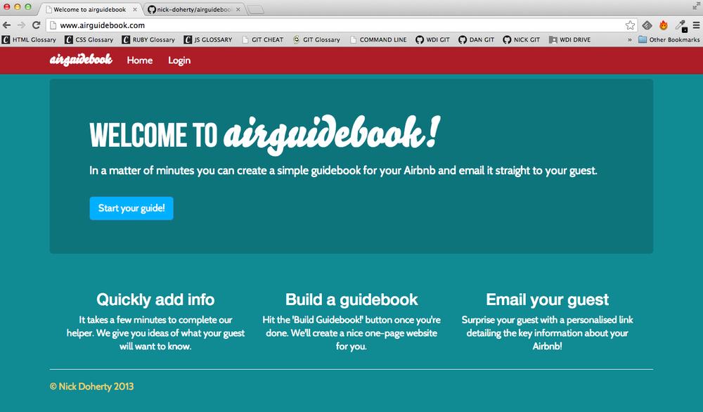 Airguidebook Welcome screen, web